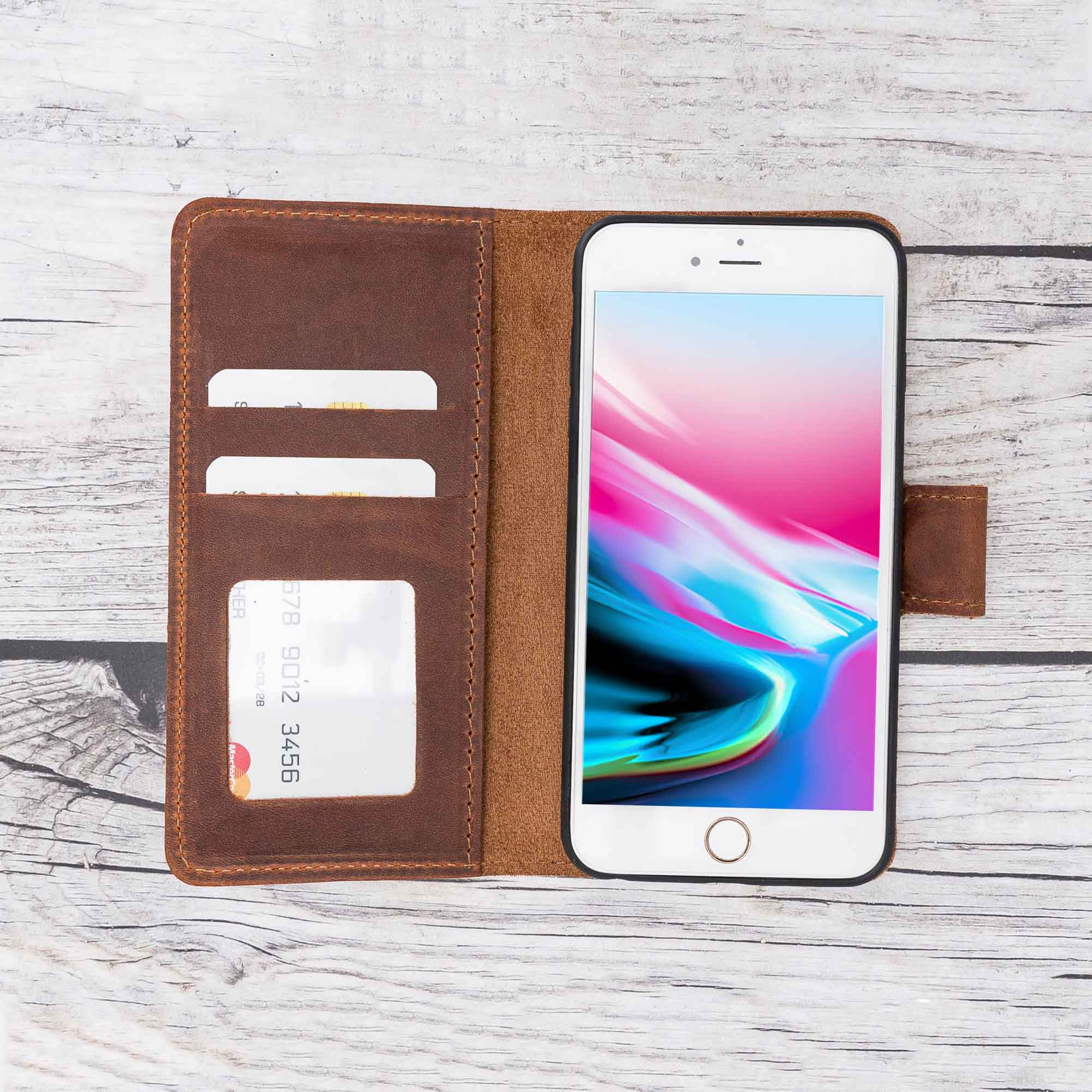 Liluri Magnetic Detachable Leather Wallet Case for iPhone 6 Plus / 6S Plus - BROWN - saracleather