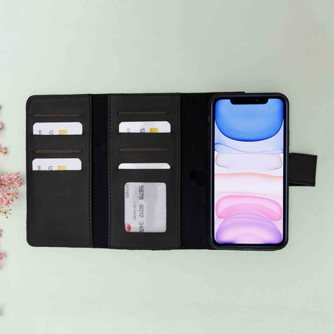 Santa Magnetic Detachable Leather Tri-Fold Wallet Case for iPhone 11 (6.1