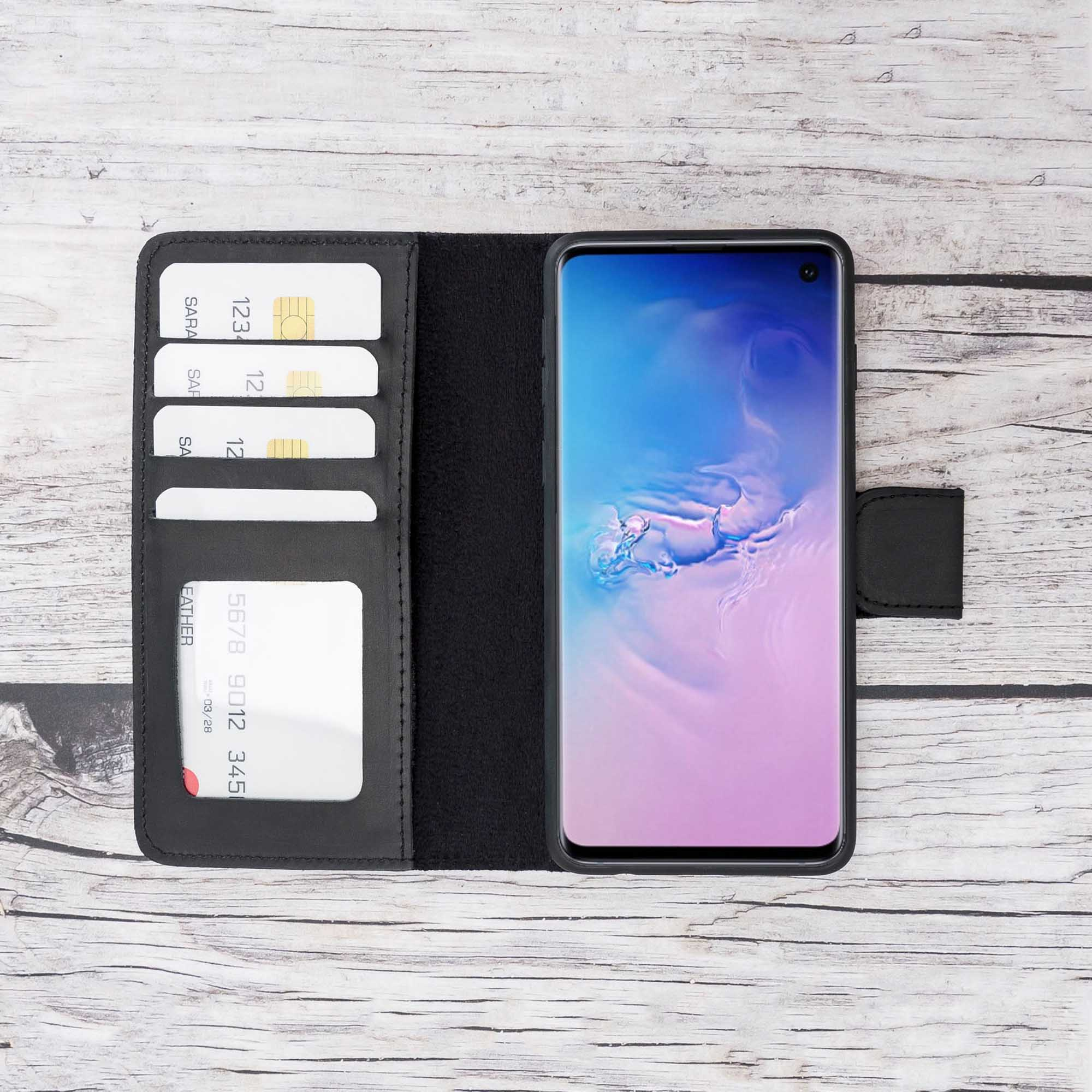 Liluri Magnetic Detachable Leather Wallet Case for Samsung Galaxy S10 - BLACK - saracleather