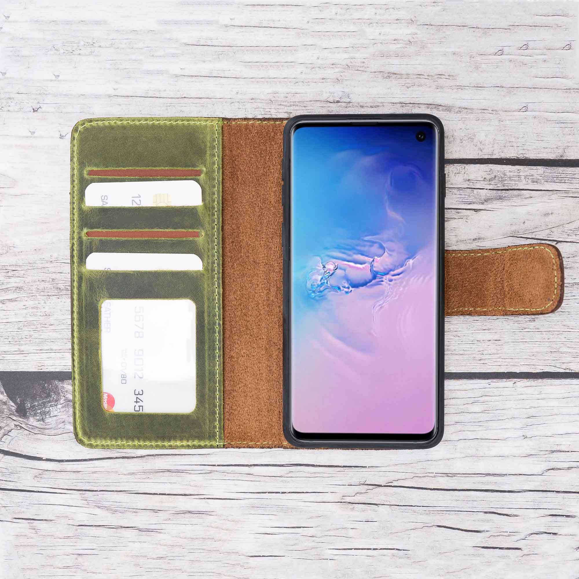 Liluri Magnetic Detachable Leather Wallet Case for Samsung Galaxy S10 - GREEN - saracleather