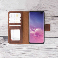 Liluri Magnetic Detachable Leather Wallet Case for Samsung Galaxy S10 Plus - BROWN - saracleather