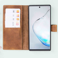 Magic Magnetic Detachable Leather Wallet Case for Samsung Galaxy Note 10 Plus / Note 10 Plus 5G - TAN - saracleather
