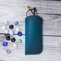 Leather Case For Glasses - EFFECT BLUE - saracleather
