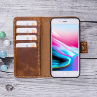 Adel Magnetic Detachable Leather Wallet Case for iPhone 8 Plus / 7 Plus - TAN - saracleather