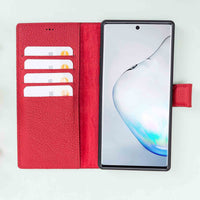 Magic Magnetic Detachable Leather Wallet Case for Samsung Galaxy Note 10 - RED - saracleather