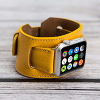 Cuff Strap: Full Grain Leather Band for Apple Watch 38mm / 40mm - YELLOW - saracleather