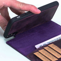 "Magic Magnetic Detachable Leather Wallet Case for iPhone XS Max (6.5"") - PURPLE - saracleather"
