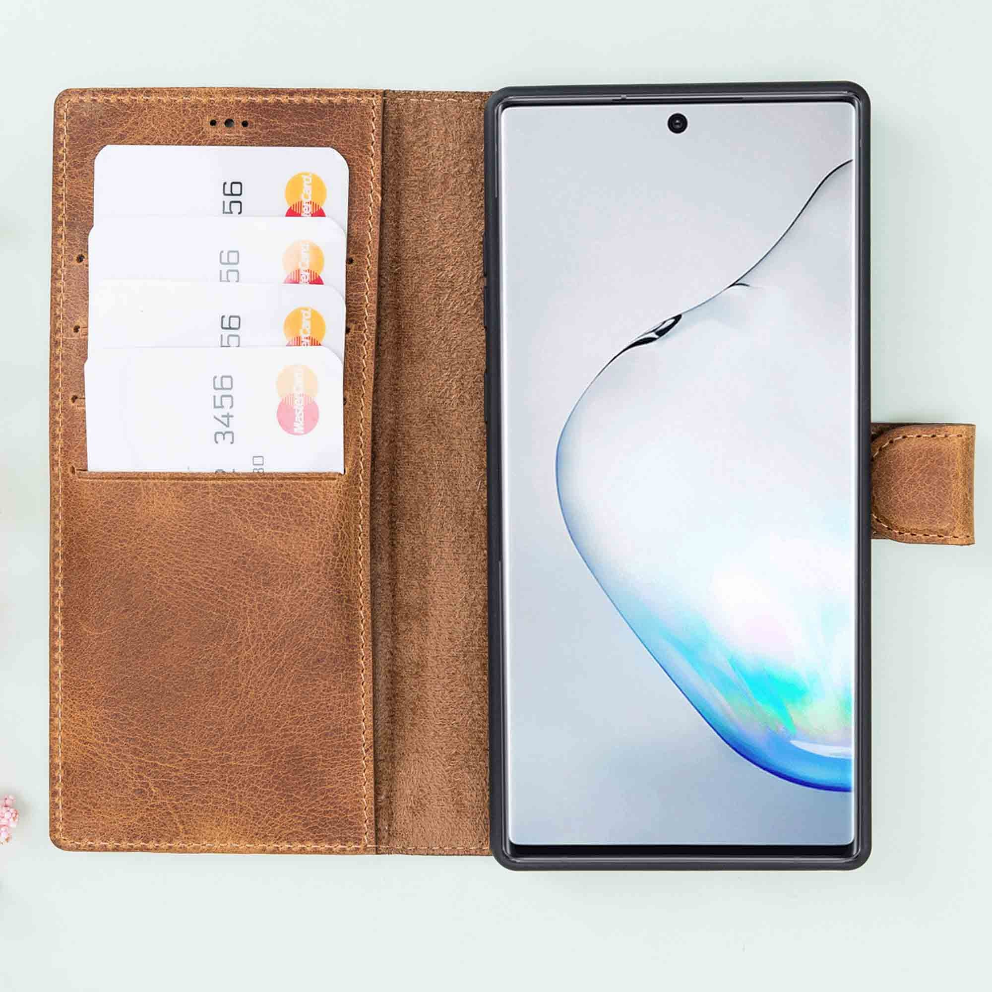 Magic Magnetic Detachable Leather Wallet Case for Samsung Galaxy Note 10 - TAN - saracleather