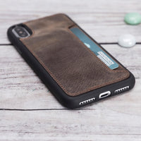 "Flex Cover CC Leather Case for iPhone X / XS (5.8"") - BROWN - saracleather"