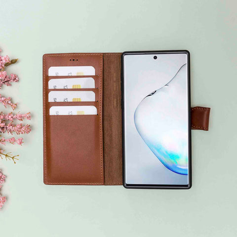 Magic Magnetic Detachable Leather Wallet Case for Samsung Galaxy Note 10 Plus / Note 10 Plus 5G - EFFECT BROWN - saracleather