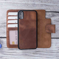 "Liluri Magnetic Detachable Leather Wallet Case for iPhone X / XS (5.8"") - BROWN - saracleather"