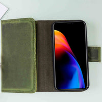 "Santa Magnetic Detachable Leather Tri-Fold Wallet Case for iPhone XS Max (6.5"") - GREEN - saracleather"
