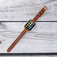 Ferro Strap - Full Grain Leather Band for Apple Watch 38mm / 40mm - EFFECT BROWN - saracleather