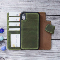 "Liluri Magnetic Detachable Leather Wallet Case for iPhone XR (6.1"") - GREEN - saracleather"