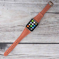 Slim Strap - Full Grain Leather Band for Apple Watch 38mm / 40mm - POMEGRANATE FLOWER - saracleather