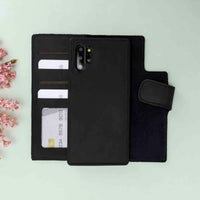 Liluri Magnetic Detachable Leather Wallet Case for Samsung Galaxy Note 10 Plus / Note 10 Plus 5G - BLACK - saracleather