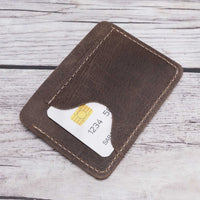 Slim Leather Business Card Holder - BROWN - saracleather