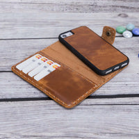 "Adel Magnetic Detachable Leather Wallet Case for SE 2020 / 8 / 7 (4.7"") - TAN - saracleather"