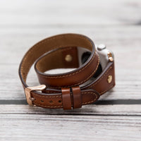 Slim Double Tour Strap: Full Grain Leather Band for Apple Watch 38mm / 40mm - EFFECT BROWN - saracleather
