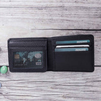 Carlos Leather Men's Bifold Wallet - NAVY BLUE - saracleather