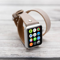 Slim Double Tour Strap: Full Grain Leather Band for Apple Watch 38mm / 40mm - GRAY - saracleather