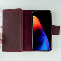 "Santa Magnetic Detachable Leather Tri-Fold Wallet Case for iPhone XS Max (6.5"") - RED - saracleather"