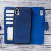 "Liluri Magnetic Detachable Leather Wallet Case for iPhone X / XS (5.8"") - BLUE - saracleather"