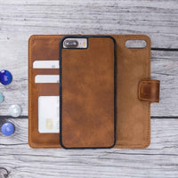 Liluri Magnetic Detachable Leather Wallet Case for iPhone 8 Plus / 7 Plus - TAN - saracleather