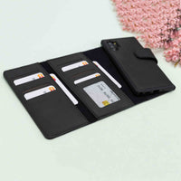 Santa Magnetic Detachable Leather Tri-Fold Wallet Case for Samsung Galaxy Note 10 / Note 10 Plus 5G - BLACK - saracleather