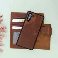 Liluri CC Magnetic Detachable Leather Wallet Case for Samsung Galaxy Note 10 - BROWN - saracleather