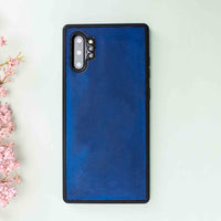 Santa Magnetic Detachable Leather Tri-Fold Wallet Case for Samsung Galaxy Note 10 / Note 10 Plus 5G - BLUE - saracleather