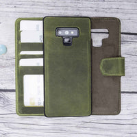Liluri Magnetic Detachable Leather Wallet Case for Samsung Galaxy Note 9 - GREEN - saracleather