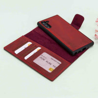 Liluri Magnetic Detachable Leather Wallet Case for Samsung Galaxy Note 10 - RED - saracleather