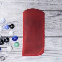 Leather Case For Glasses - RED - saracleather