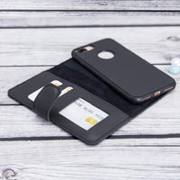 Liluri Magnetic Detachable Leather Wallet Case for iPhone 8 Plus / 7 Plus - BLACK - saracleather