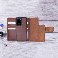 "Santa Magnetic Detachable Leather Tri-Fold Wallet Case for Samsung Galaxy S20 Ultra (6.9"") - BROWN - saracleather"