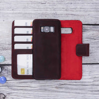 Liluri Magnetic Detachable Leather Wallet Case for Samsung Galaxy S8 - RED - saracleather