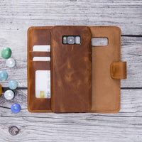 Liluri Magnetic Detachable Leather Wallet Case for Samsung Galaxy S8 Plus - TAN - saracleather