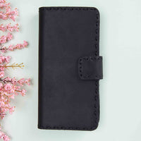 "Flora Leather Wallet Case for iPhone XS Max (6.5"") - BLACK - saracleather"