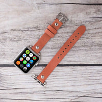 Ferro Strap - Full Grain Leather Band for Apple Watch 38mm / 40mm - POMEGRANATE FLOWER - saracleather