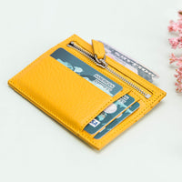 Slim Zipper Leather Wallet - YELLOW - saracleather