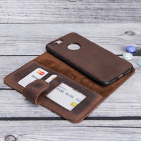 Liluri Magnetic Detachable Leather Wallet Case for iPhone 8 Plus / 7 Plus - BROWN - saracleather