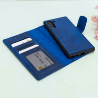 Liluri Magnetic Detachable Leather Wallet Case for Samsung Galaxy Note 10 - BLUE - saracleather