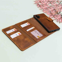 Santa Magnetic Detachable Leather Tri-Fold Wallet Case for Samsung Galaxy Note 10 / Note 10 Plus 5G - TAN - saracleather