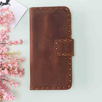 "Flora Leather Wallet Case for iPhone XS Max (6.5"") - BROWN - saracleather"