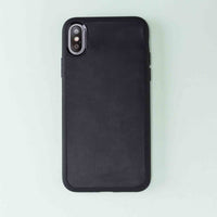 "Santa Magnetic Detachable Leather Tri-Fold Wallet Case for iPhone XS Max (6.5"") - BLACK - saracleather"