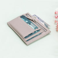 Slim Zipper Leather Wallet - GRAY - saracleather