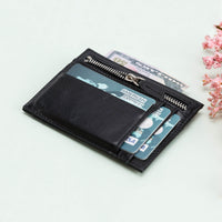 Slim Zipper Leather Wallet - BLACK - saracleather