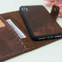 "Adel Magnetic Detachable Leather Wallet Case for iPhone XS Max (6.5"") - BROWN - saracleather"
