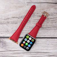 Slim Strap - Full Grain Leather Band for Apple Watch 38mm / 40mm - RED - saracleather